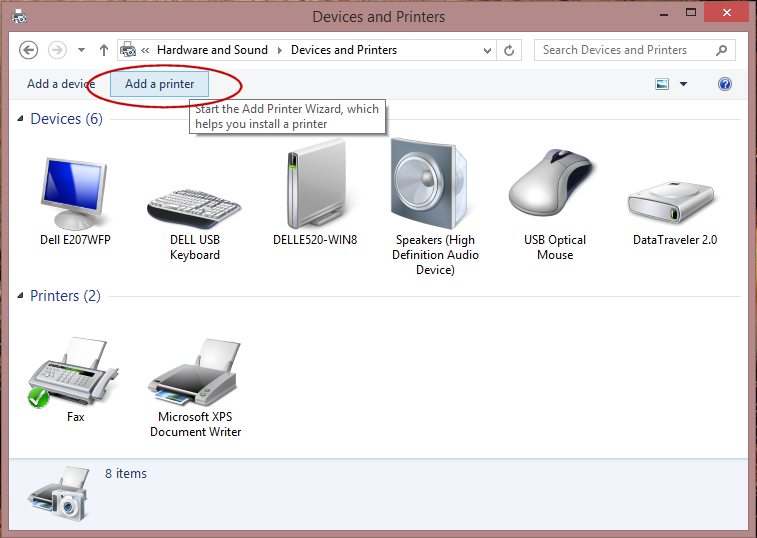 how to get to devices and printers windows 8